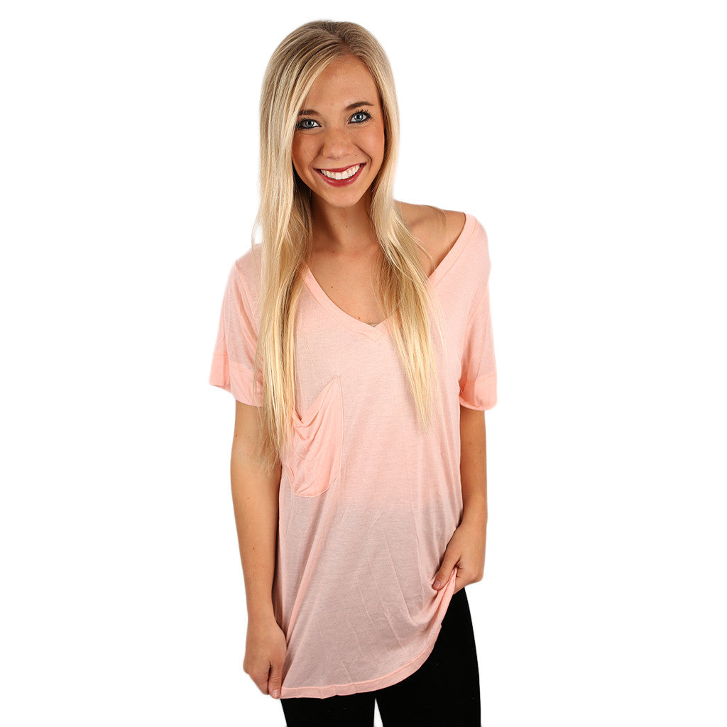 Fit Me Perfect V-Tee in Peach