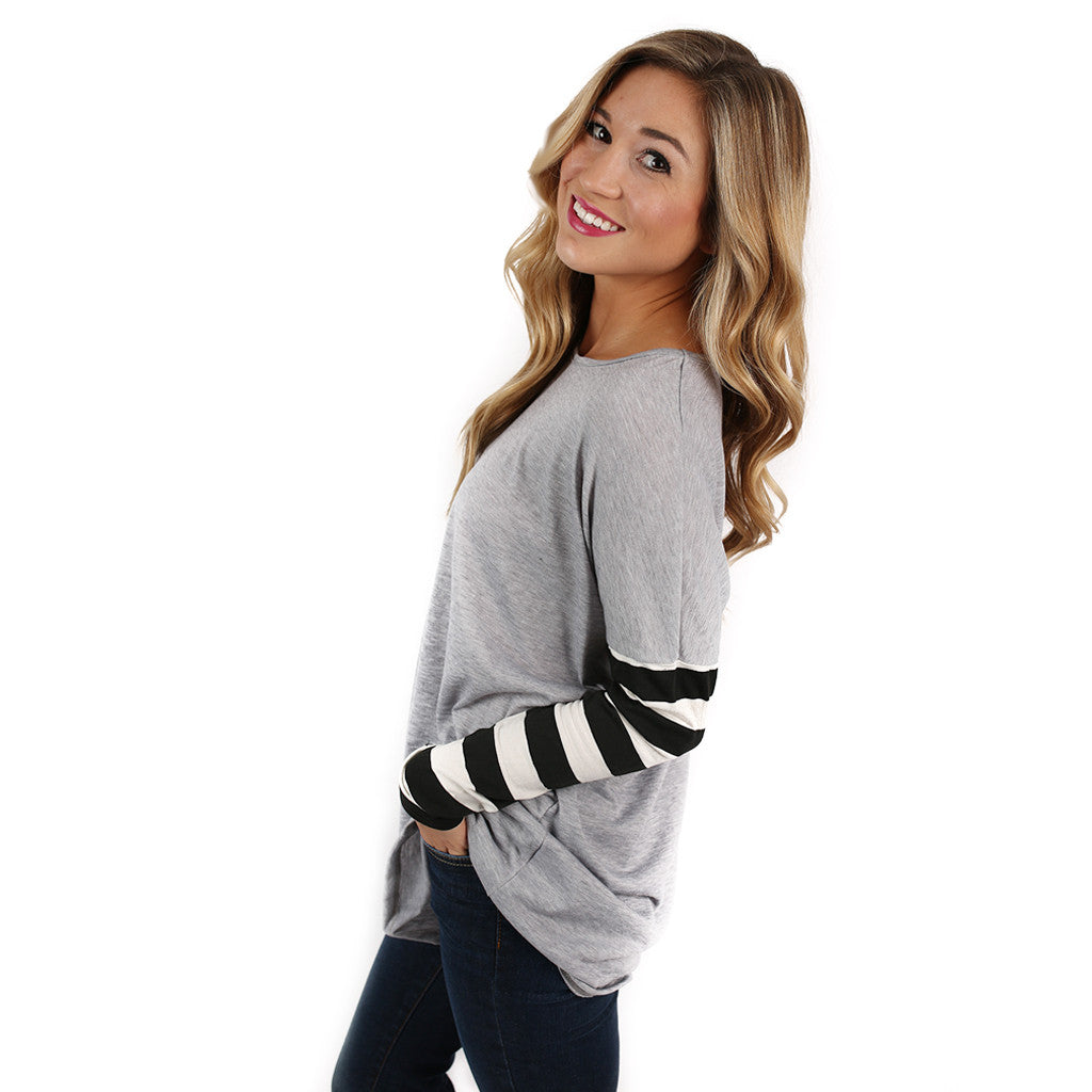 Time For Stripes Tee in Grey