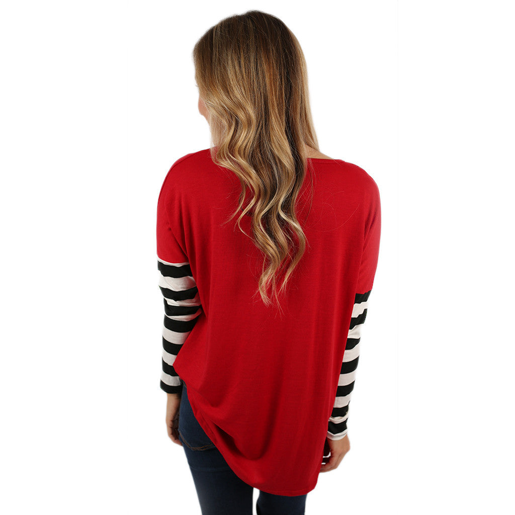 Time For Stripes Tee in Red