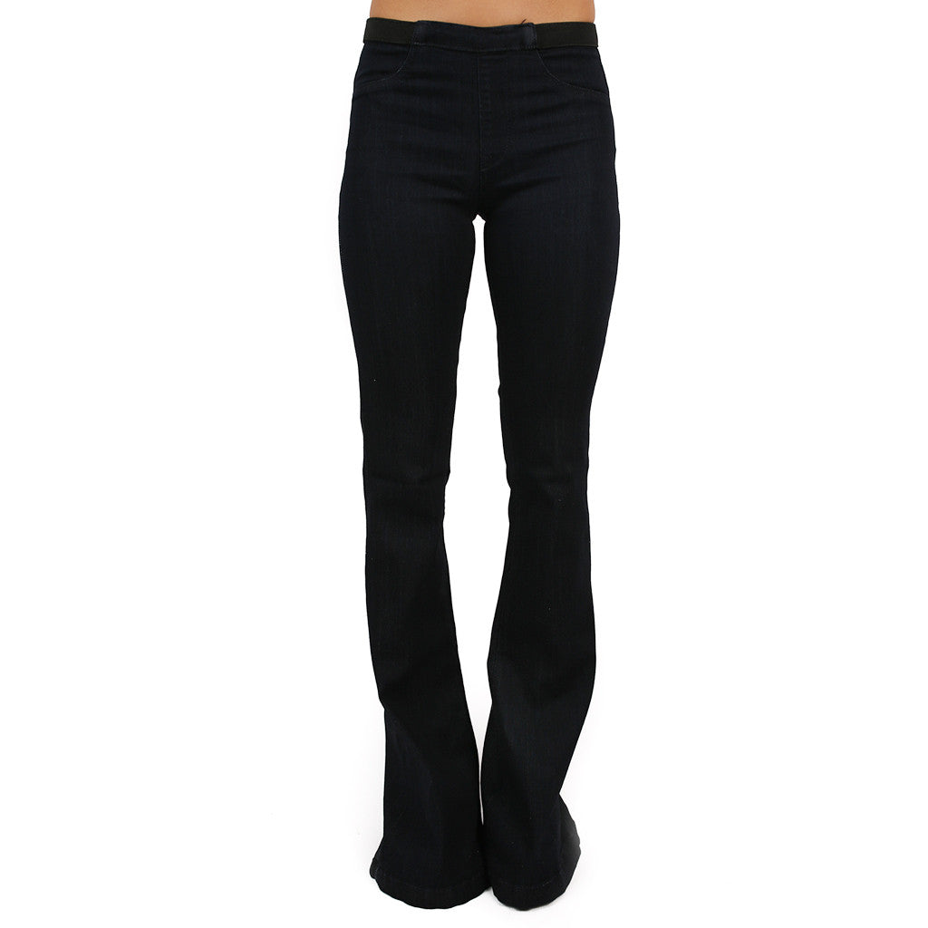 Elastic Waistband Flare in Dark Denim