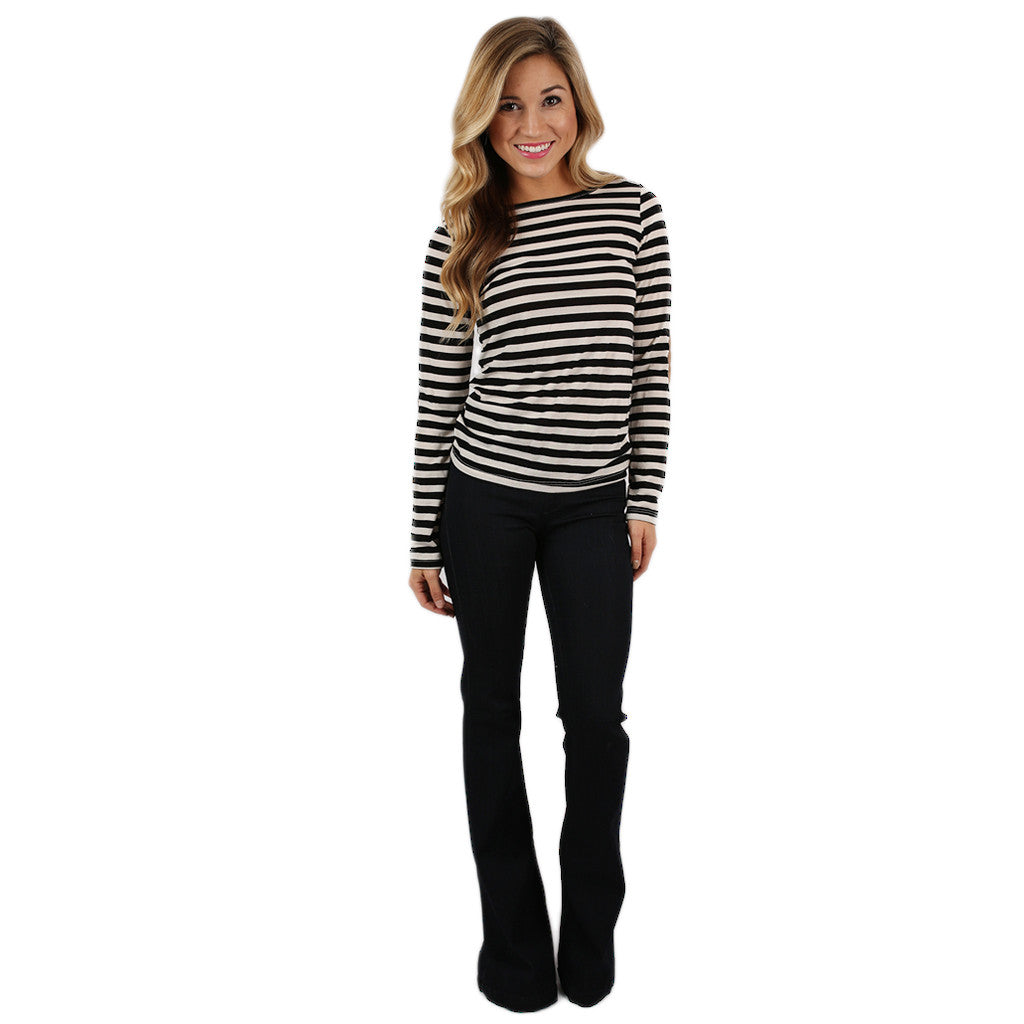 Happy Stripes Tee in Black