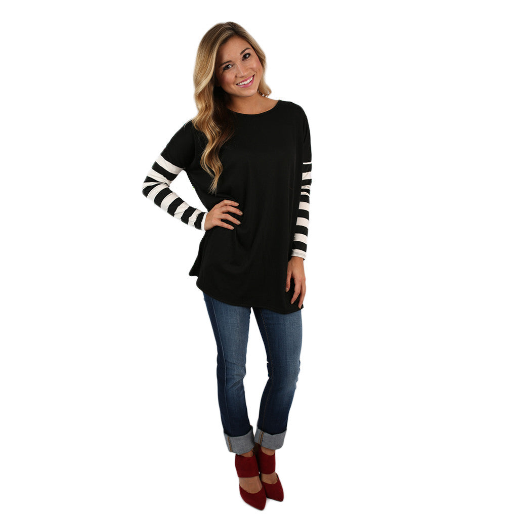 Time For Stripes Tee in Black