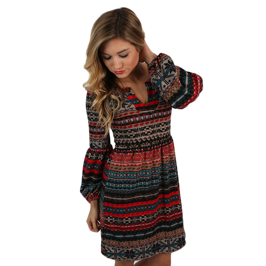 Afternoon Latte Sweater Dress Red
