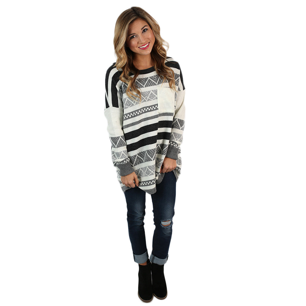 Luxurious Comfort Striped Sweater Grey