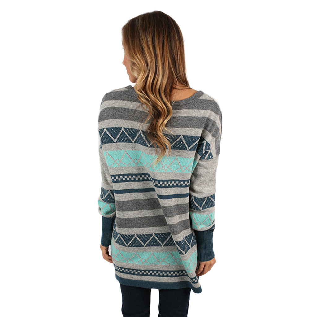 Luxurious Comfort Striped Sweater Aqua