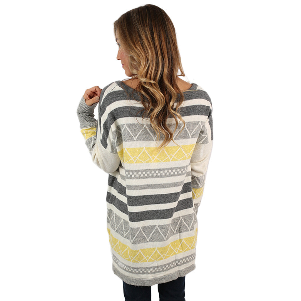 Luxurious Comfort Striped Sweater Yellow