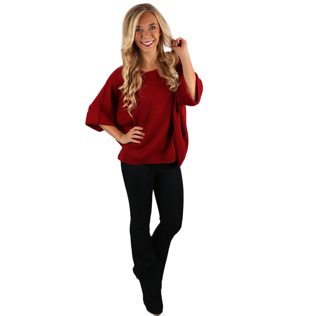 Autumn Love Knitted Top in Red