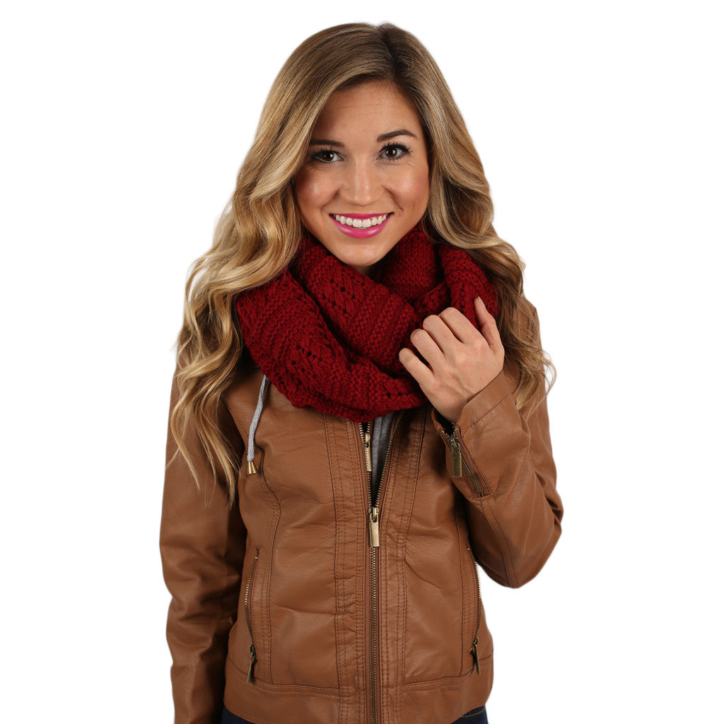 Sipping By The Fire Infinity Scarf Wine