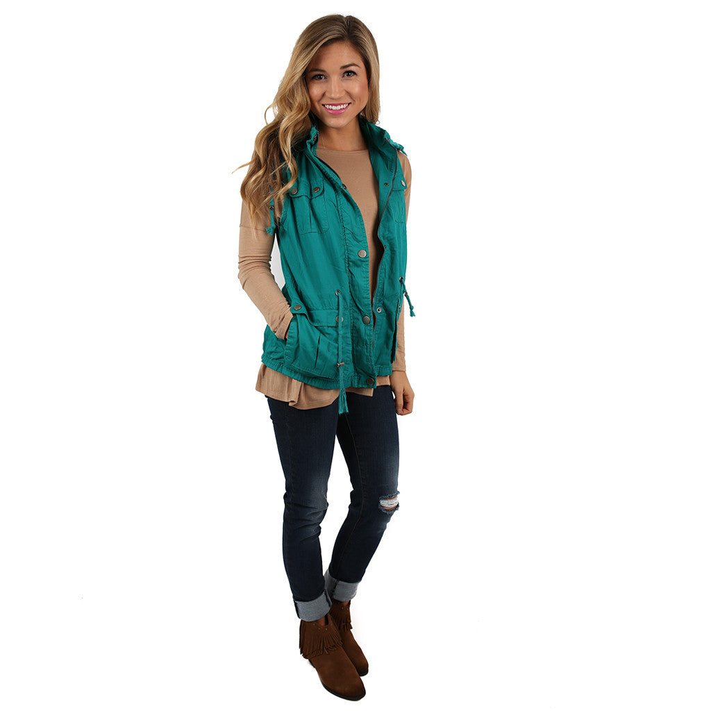 Must Be Serendipity Vest Turquoise