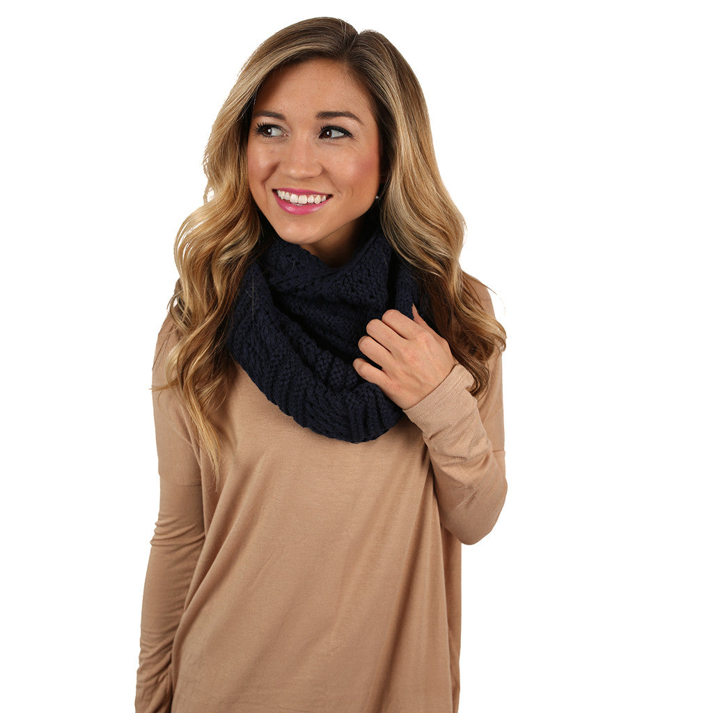 Sipping By The Fire Infinity Scarf Navy
