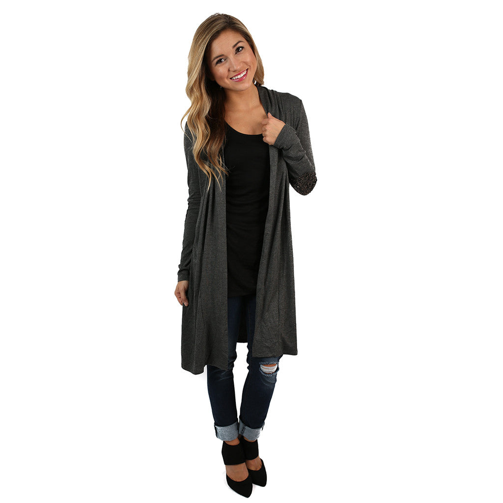Weekend Sparkles Cardi Charcoal