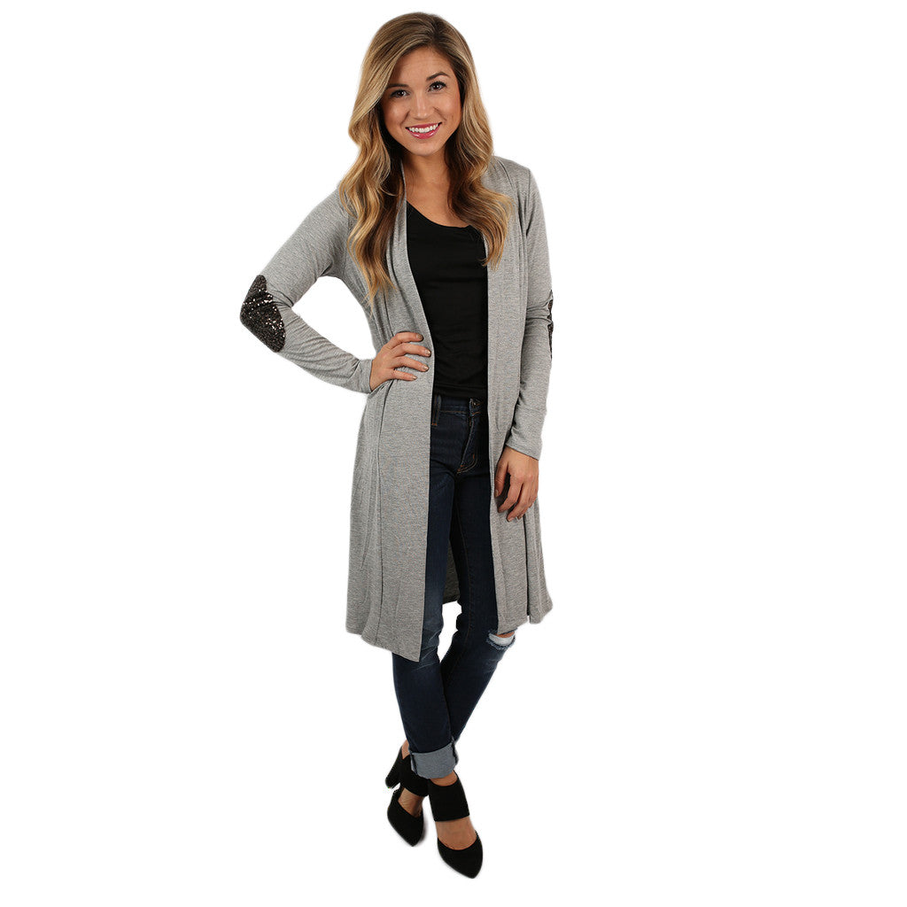 Weekend Sparkles Cardi Heather Grey