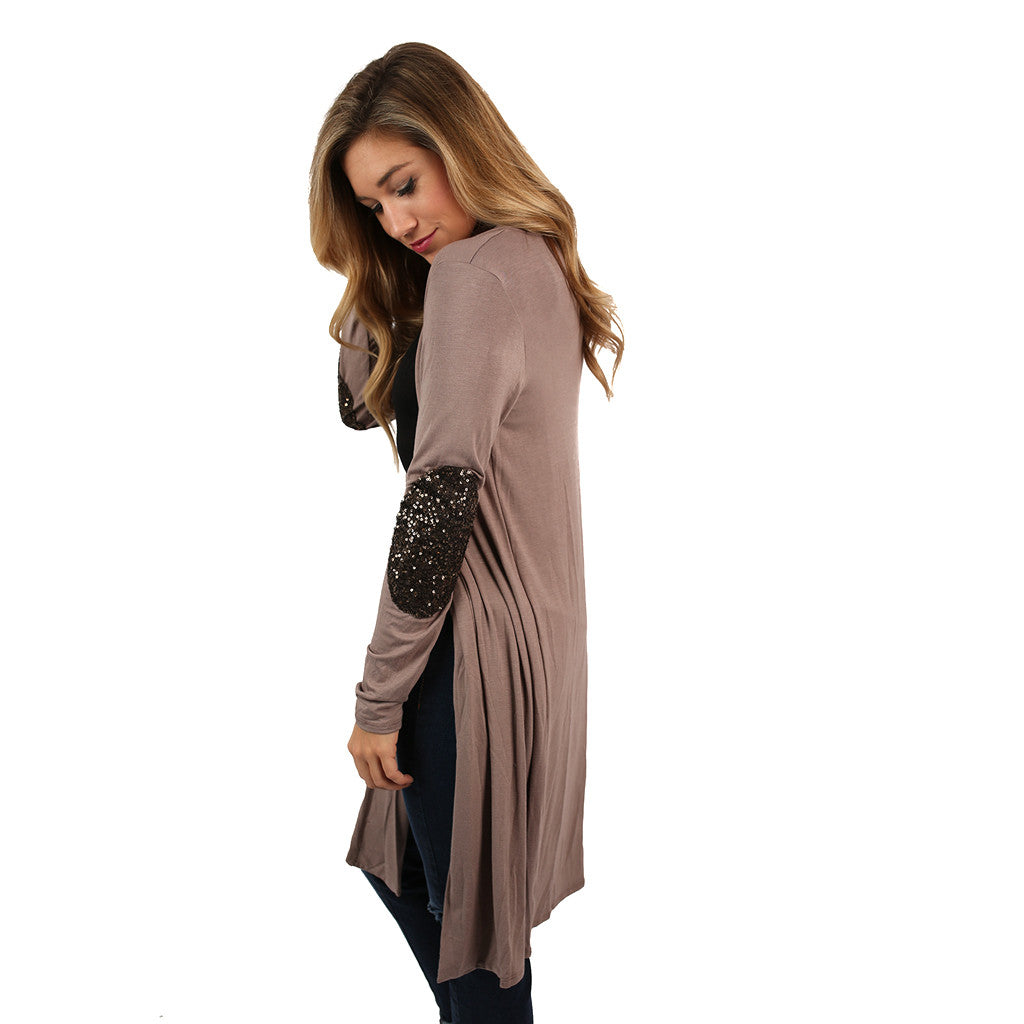 Weekend Sparkles Cardi Taupe