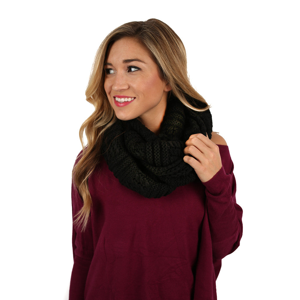 Sipping By The Fire Infinity Scarf Black