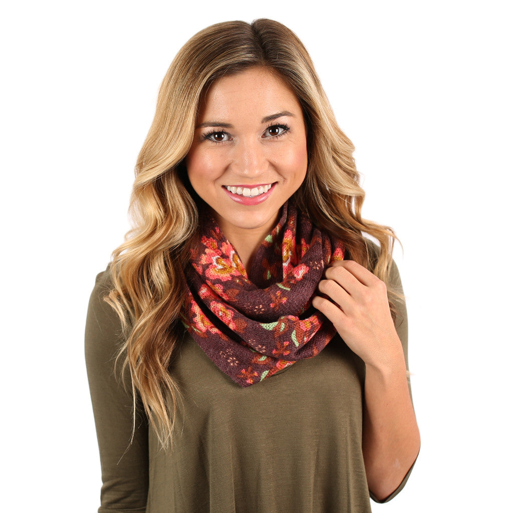 Flower Frenzy Infinity Scarf in Maroon