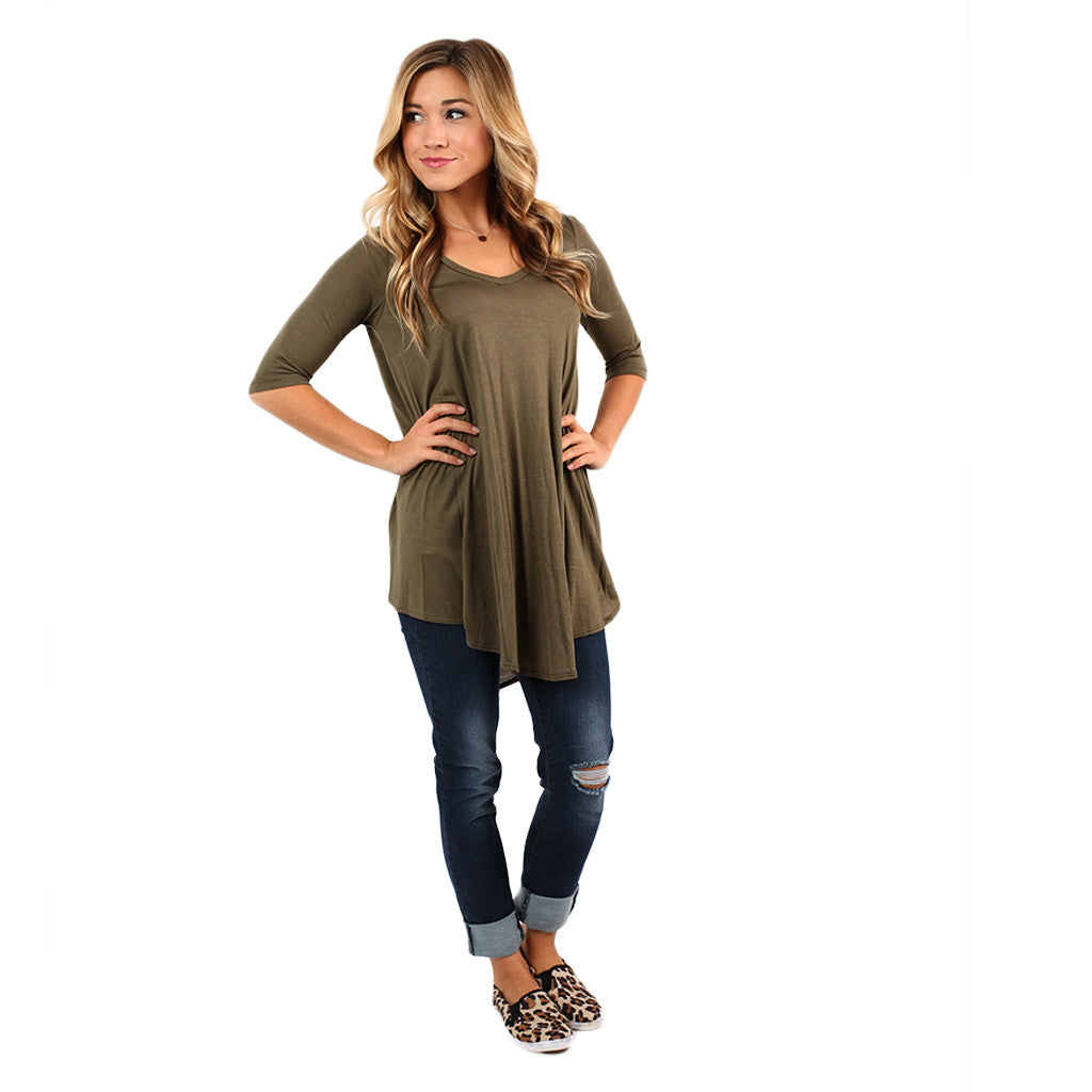 Swing With Me Tunic in Olive