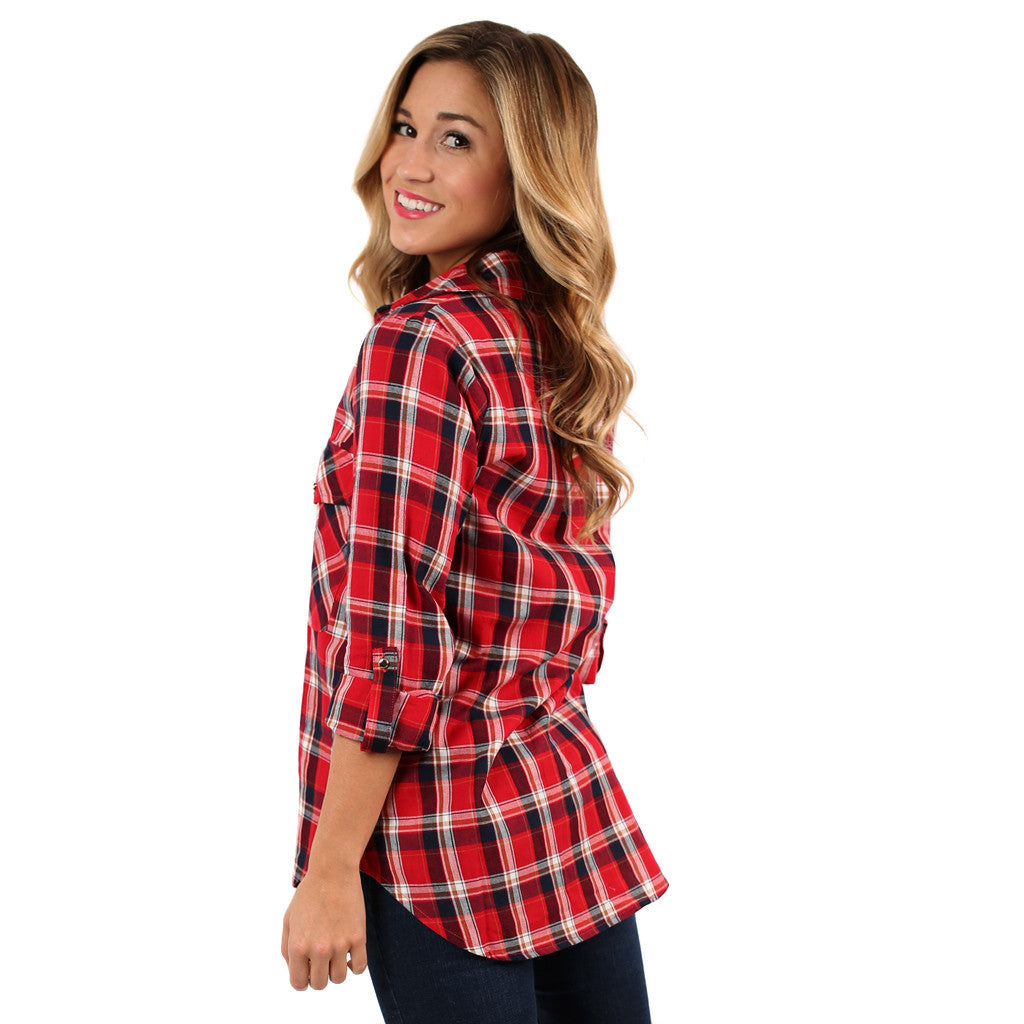 Falling For Plaid Top