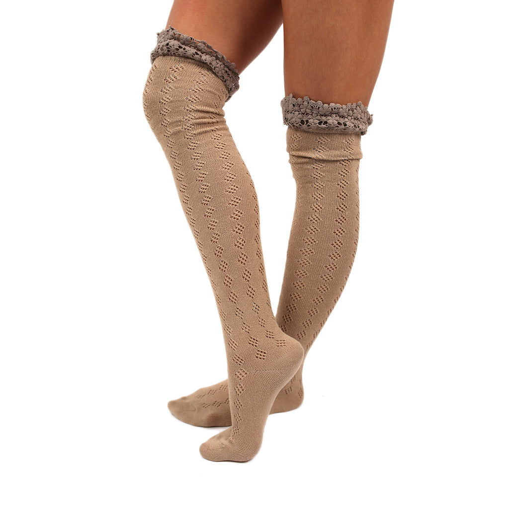 Crochet Cutie Sock in Taupe