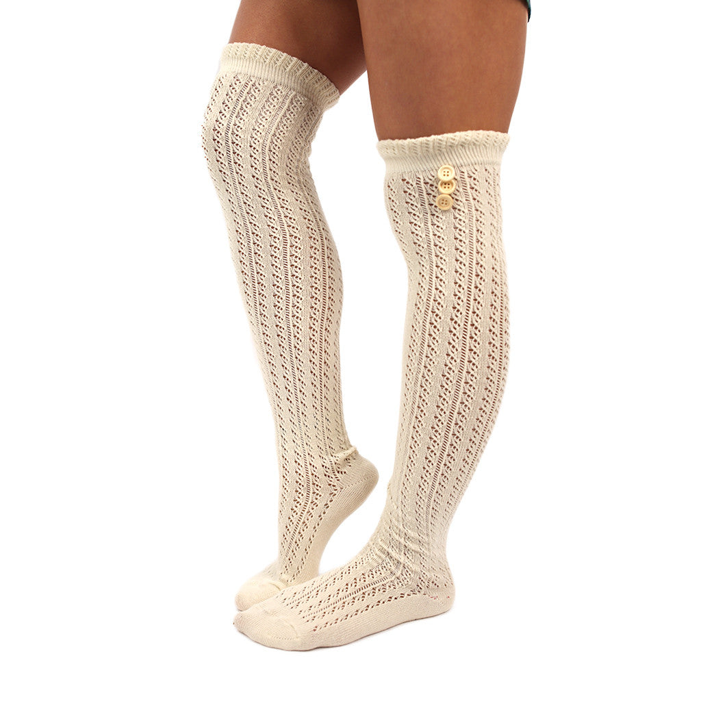 Cozy By The Fire Tall Socks in Ivory