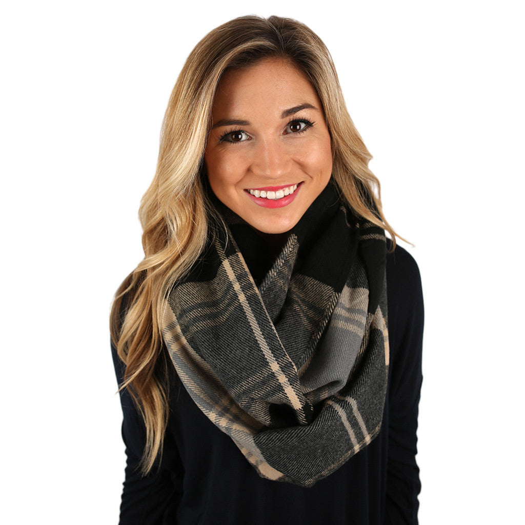 Flannel Blanket Infinity Scarf Grey
