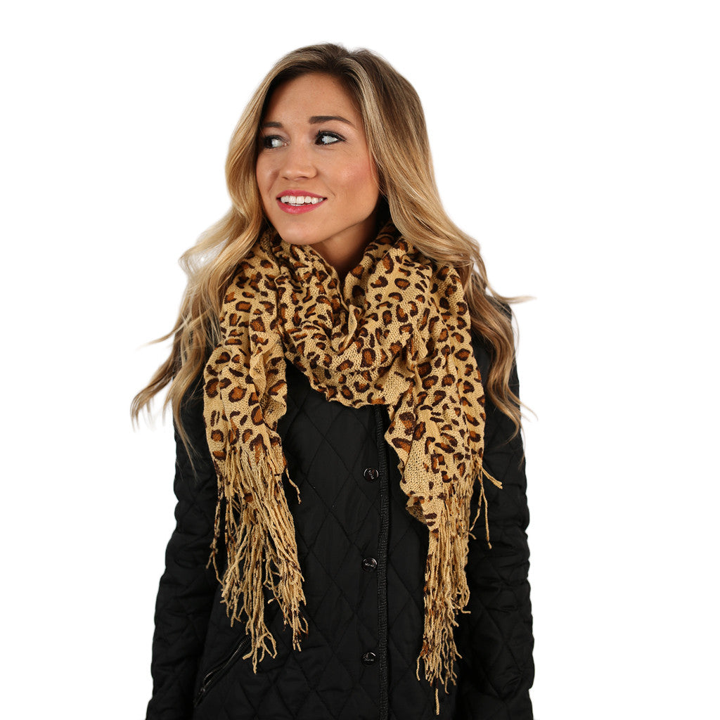 Cheetah So Pretty Scarf in Beige