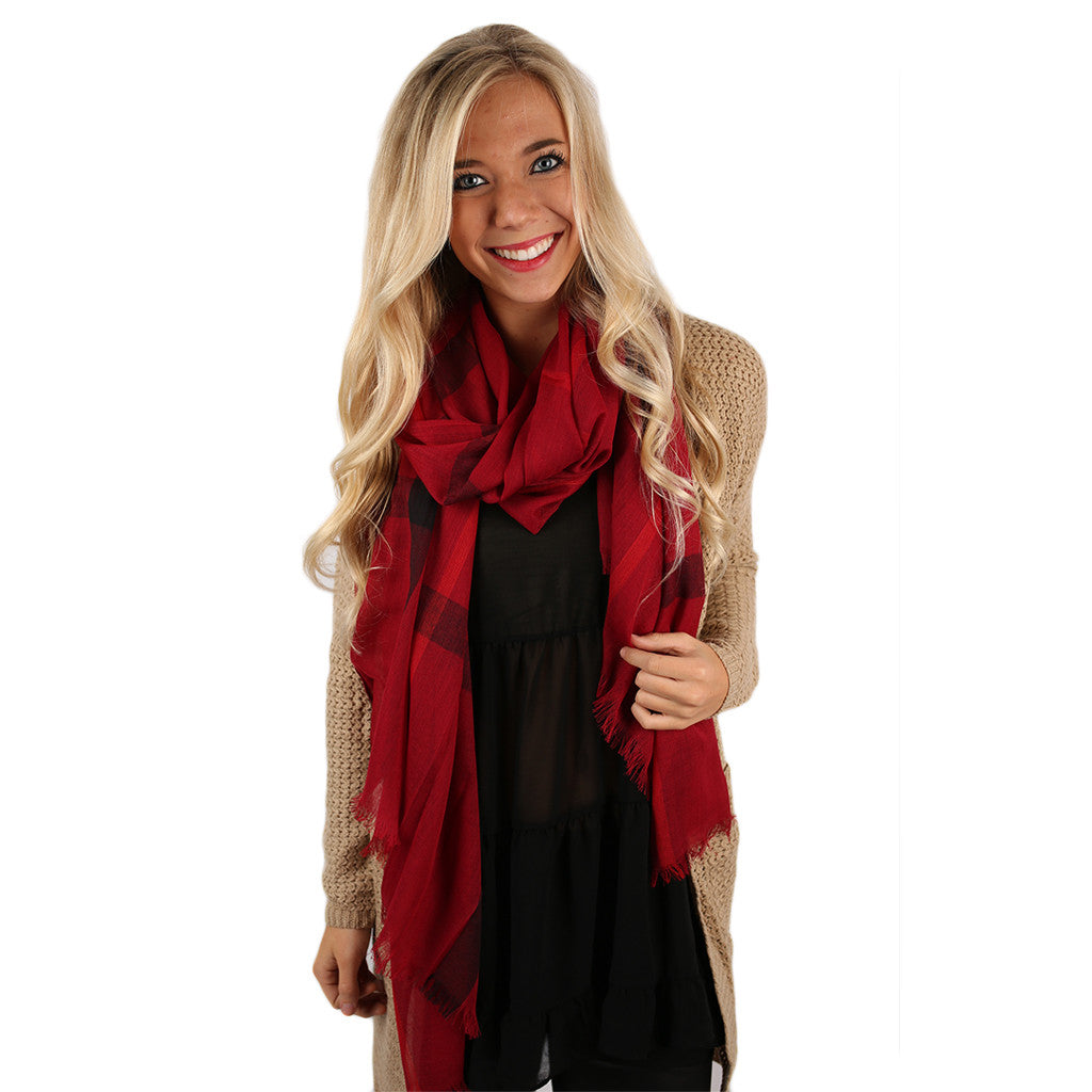 Plaid For Keeps Scarf In Red