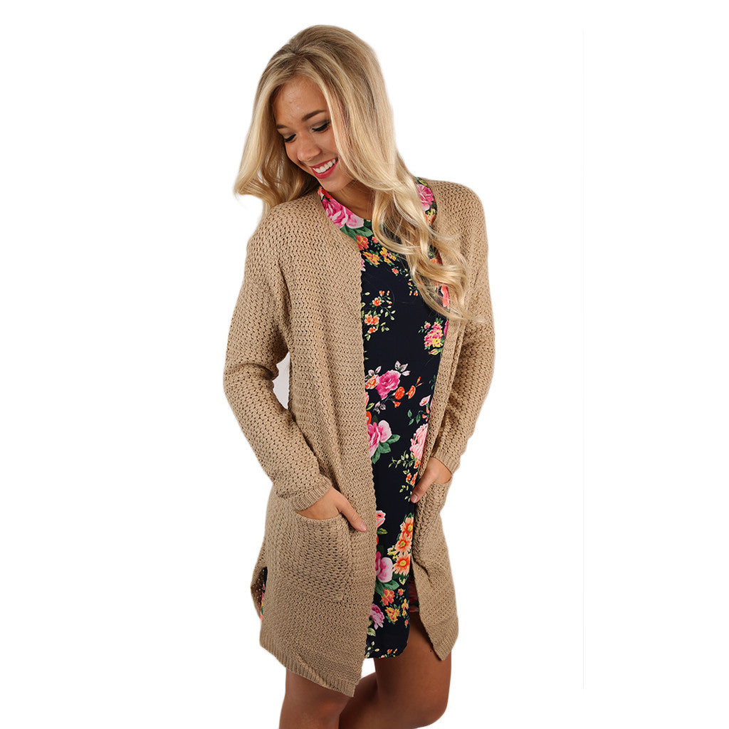 In the Valley Cardi Taupe