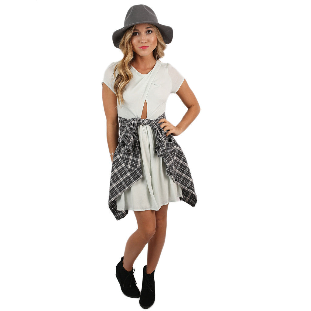 Big Heart Flannel Top in Charcoal