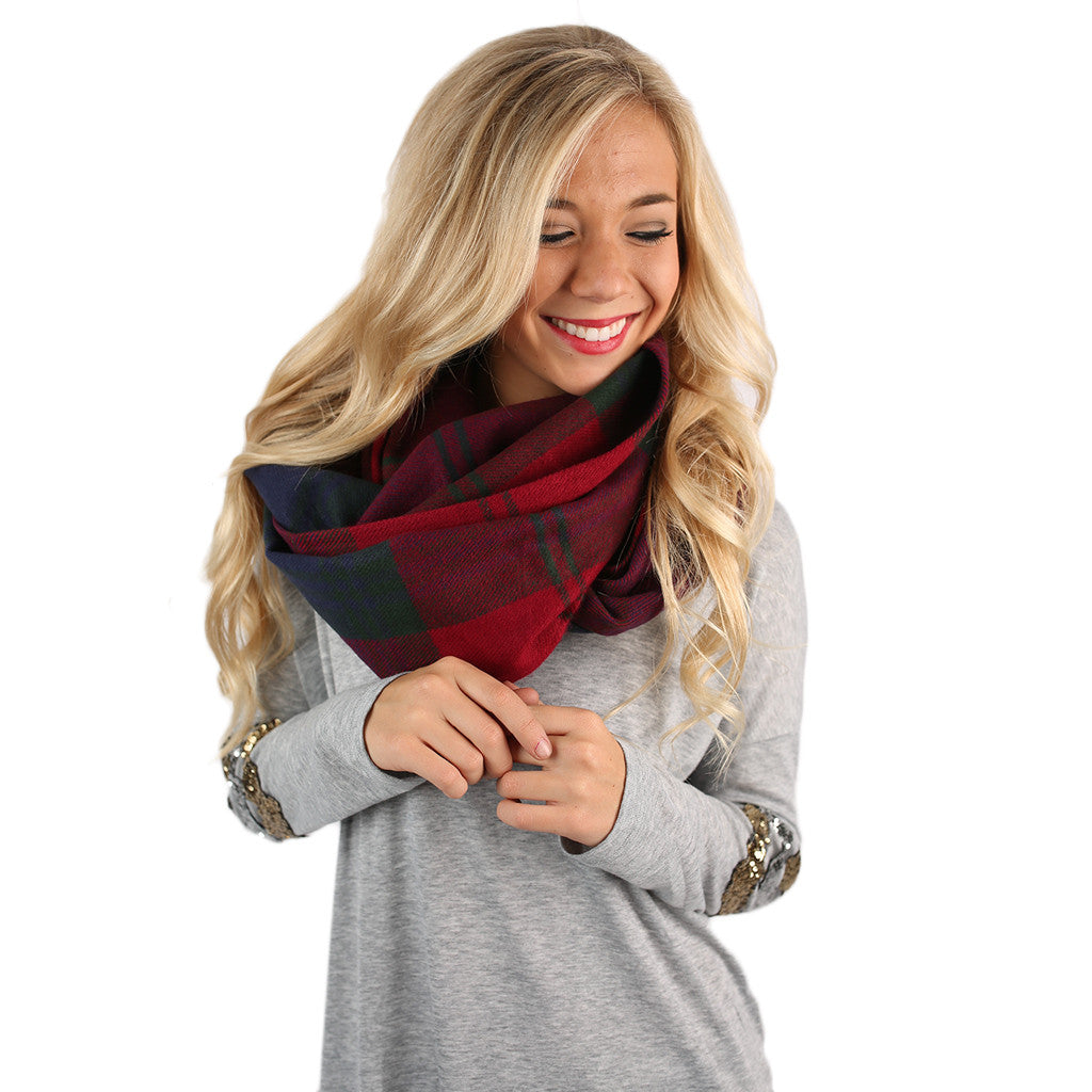 Flannel Blanket Infinity Scarf Red