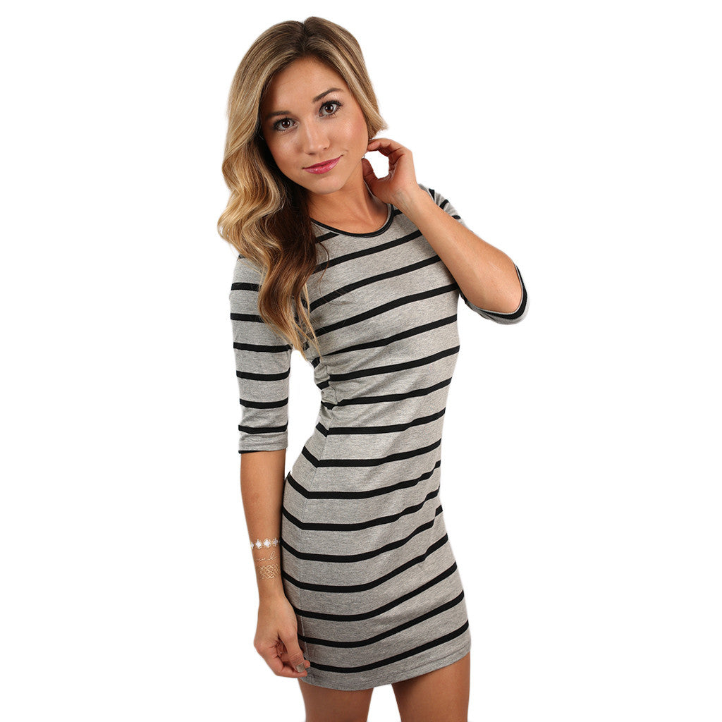 Queen B Stripe Dress Heather Grey