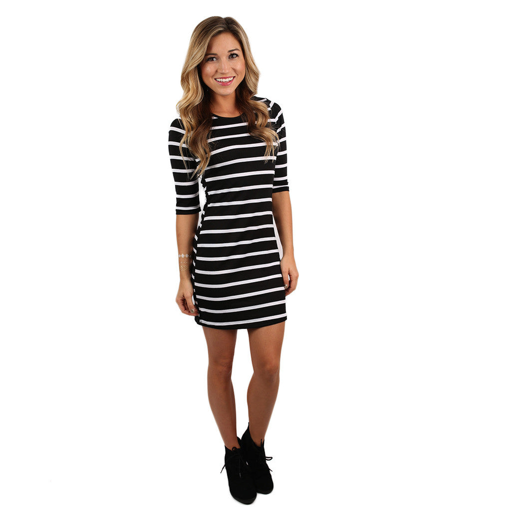 Queen B Stripe Dress Black