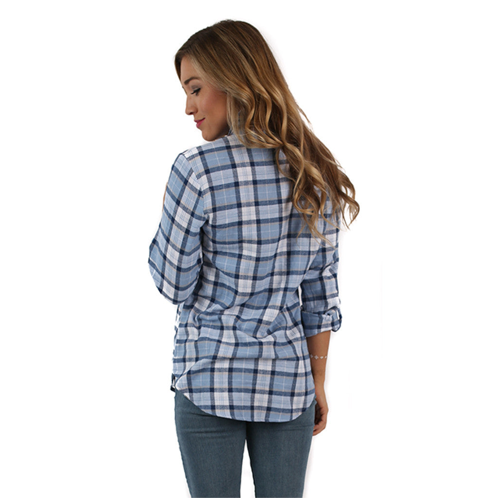 Big Heart Flannel Top in Sky