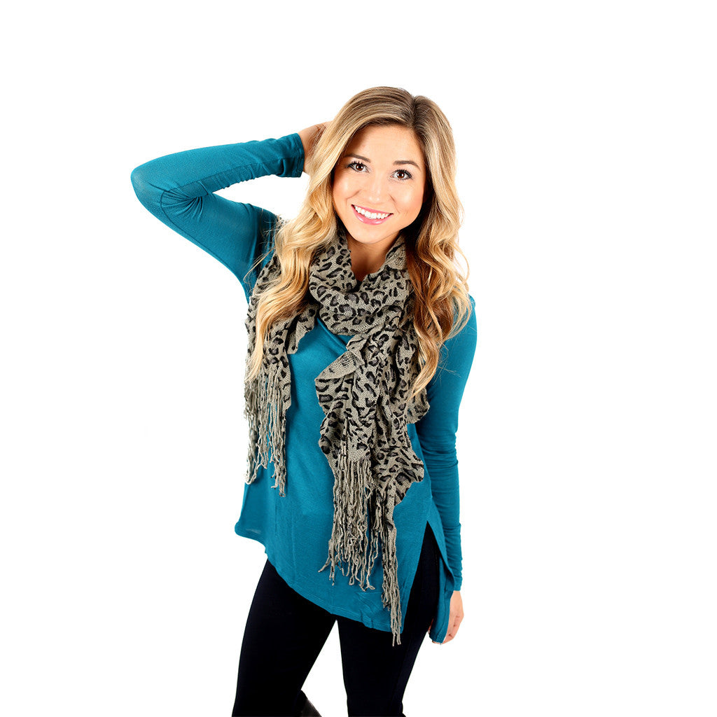 Cheetah So Pretty Scarf in Grey