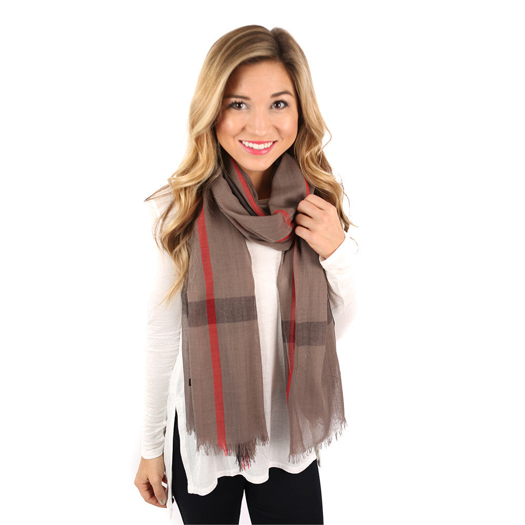 Plaid For Keeps Scarf In Mocha