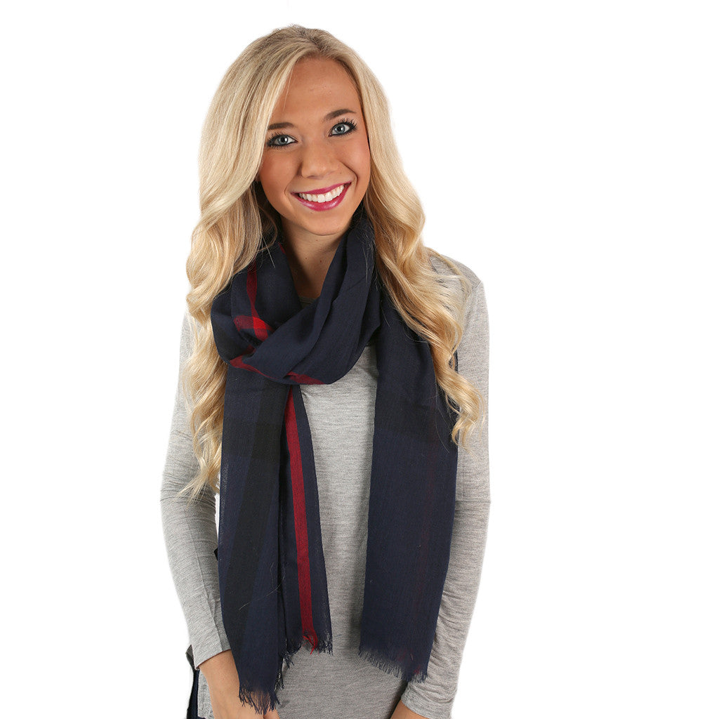 Plaid For Keeps Scarf in Navy