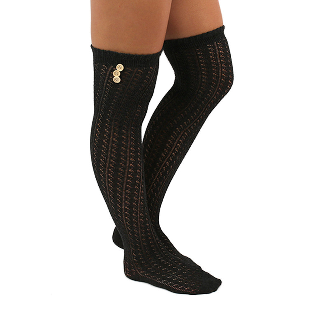 Cozy By The Fire Tall Socks in Charcoal