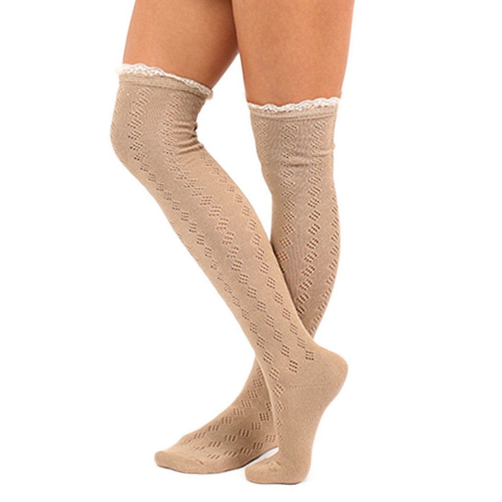 Bonfire Tall Lace Trim Socks in Taupe