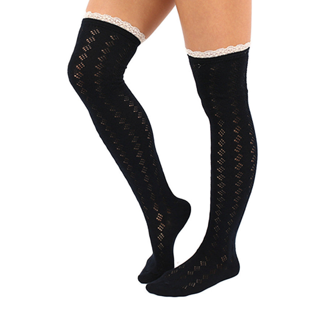 Bonfire Tall Lace Trim Socks in Black