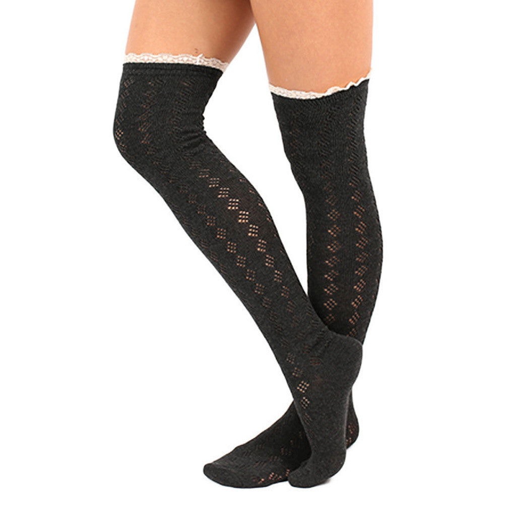 Bonfire Tall Lace Trim Socks in Charcoal