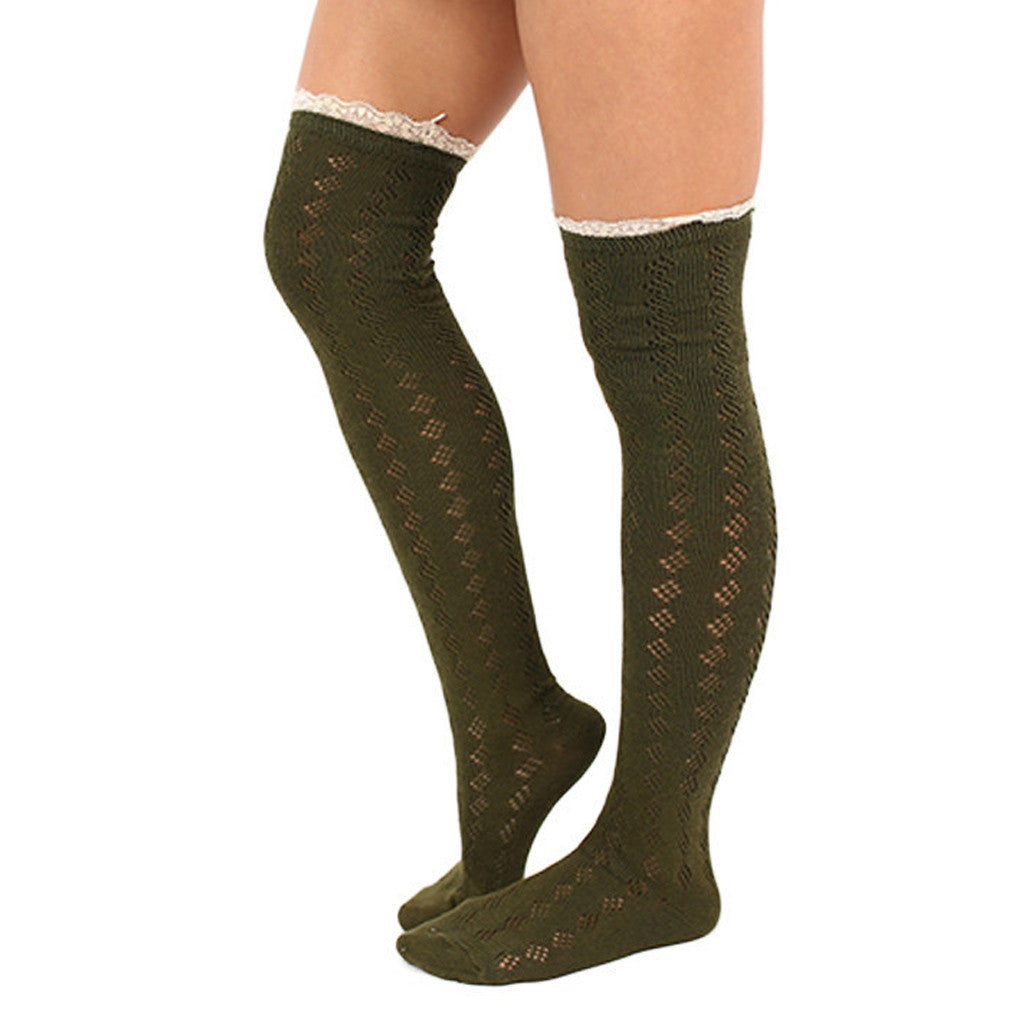 Bonfire Tall Lace Trim Socks in Army Green