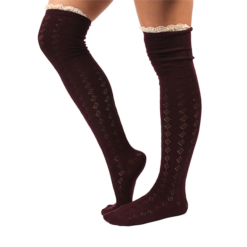 Bonfire Tall Lace Trim Socks Wine