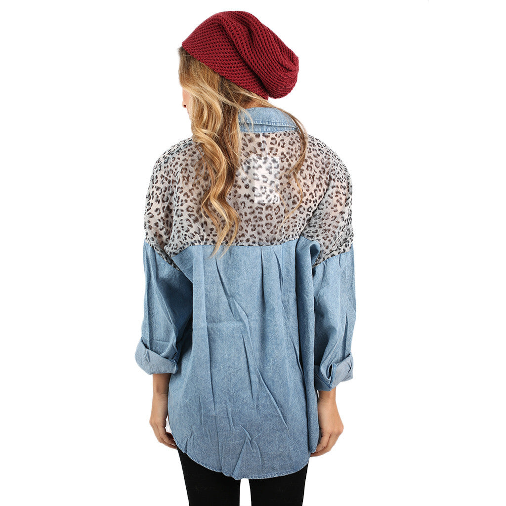 Cheetah My Friend Button Down Top