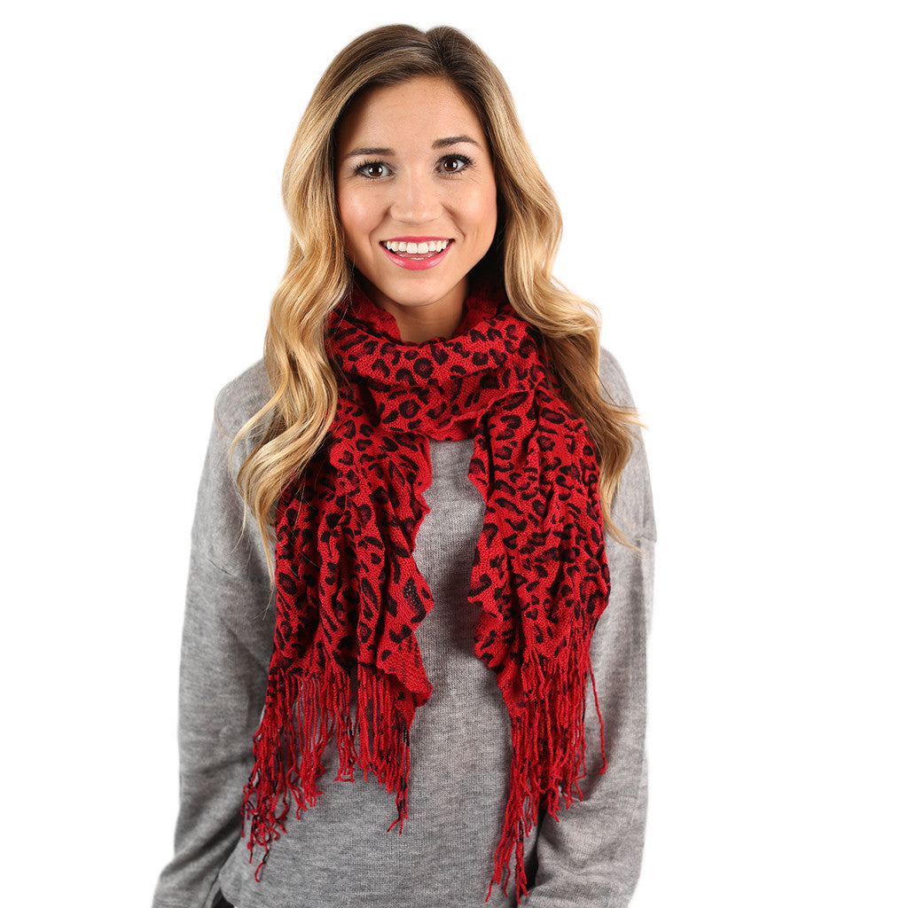 Cheetah So Pretty Scarf in Red