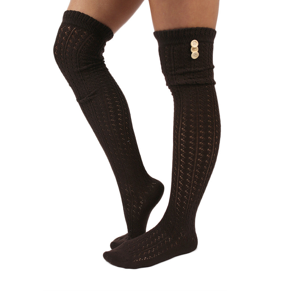 Cozy By The Fire Tall Socks in Dark Brown