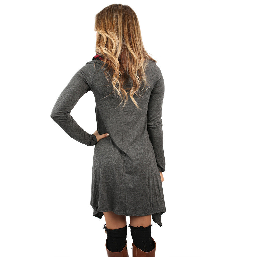 Flowy & Fab Long Sleeve Tunic Charcoal