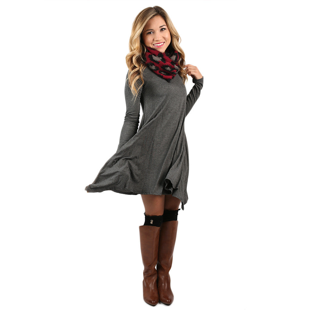 Flowy & Fab Long Sleeve Tunic Charcoal • Impressions Online Boutique