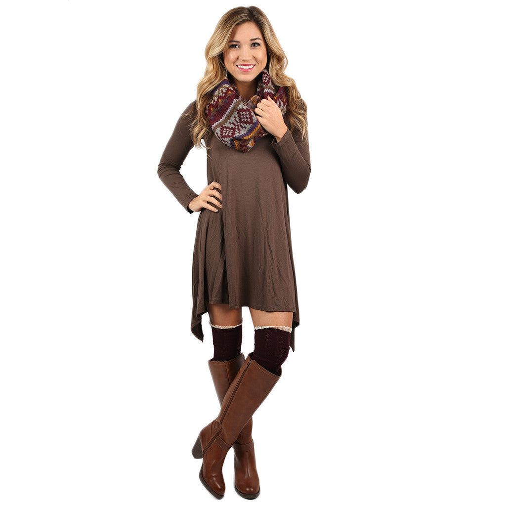 Flowy & Fab Long Sleeve Tunic in Chocolate