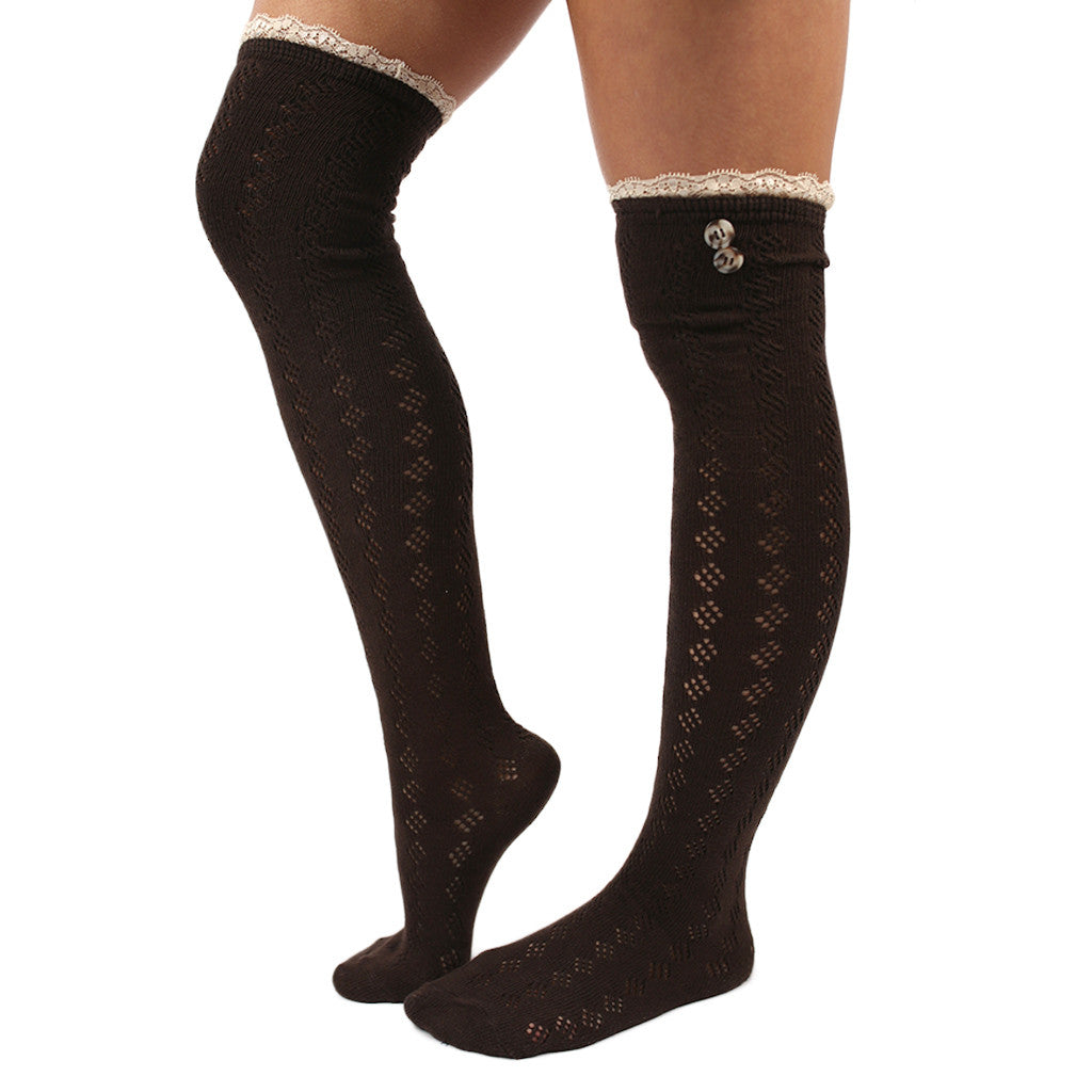 London Bridge Lace Trim Socks Brown