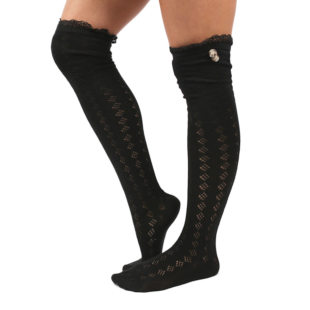 London Bridge Lace Trim Socks Black
