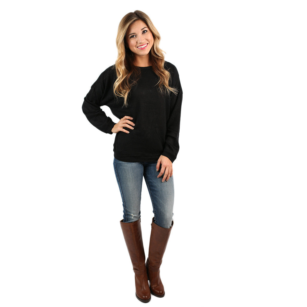 PIKO Dolman Thin Sweater in Black